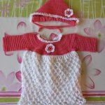 "Finished Crocheting a Newborn ""Coming Home"" Dress and Bonnet Outfit"